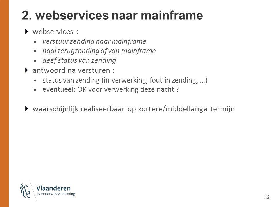 12 2. webservices naar mainframe webservices :  verstuur zending naar mainframe  haal terugzending af van mainframe  geef status van zending antwoo