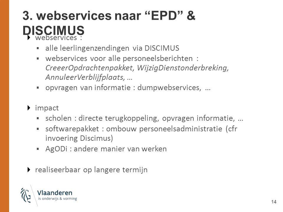 """14 3. webservices naar """"EPD"""" & DISCIMUS webservices :  alle leerlingenzendingen via DISCIMUS  webservices voor alle personeelsberichten : CreeerOpdr"""