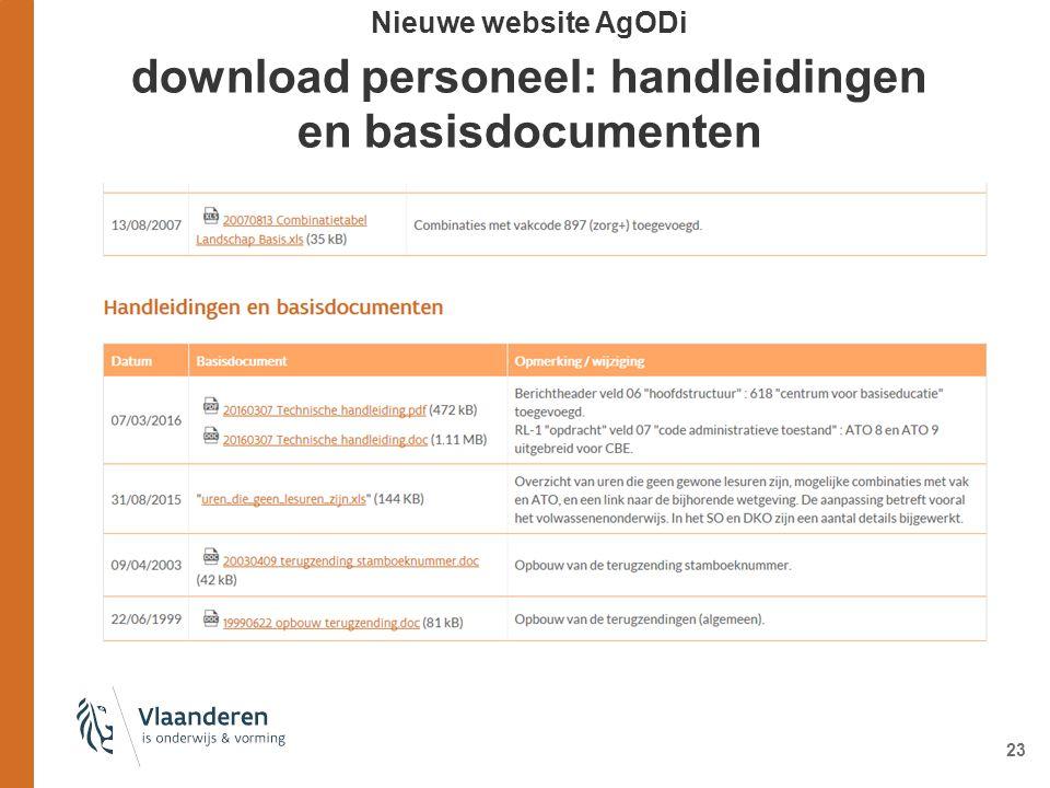 23 Nieuwe website AgODi download personeel: handleidingen en basisdocumenten