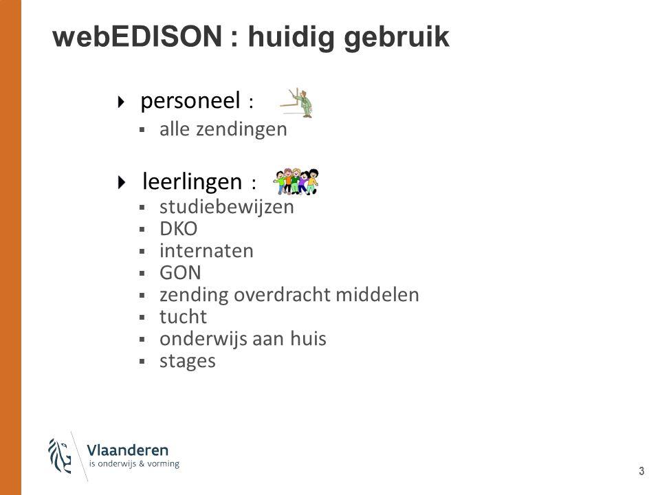 3 webEDISON : huidig gebruik personeel :  alle zendingen leerlingen :  studiebewijzen  DKO  internaten  GON  zending overdracht middelen  tucht  onderwijs aan huis  stages
