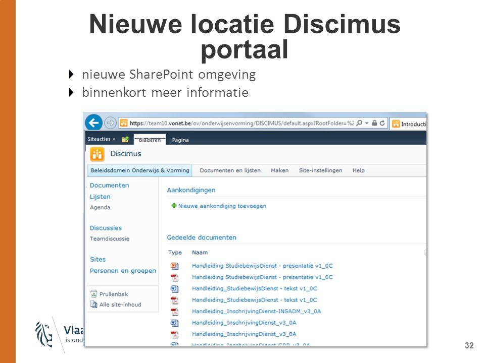 Nieuwe locatie Discimus portaal 32 nieuwe SharePoint omgeving binnenkort meer informatie