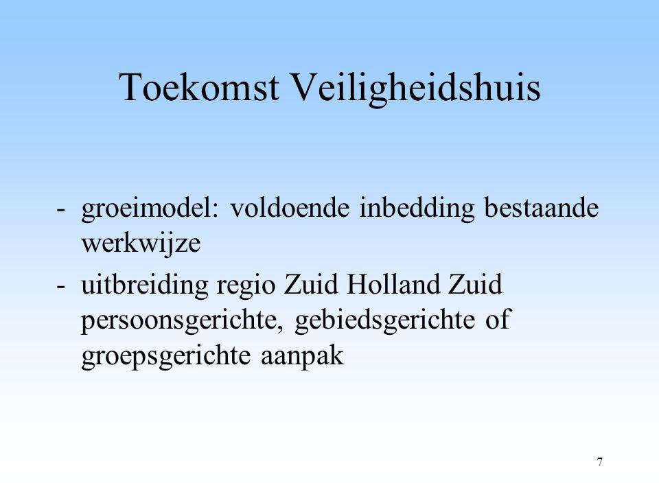 7 Toekomst Veiligheidshuis -groeimodel: voldoende inbedding bestaande werkwijze -uitbreiding regio Zuid Holland Zuid persoonsgerichte, gebiedsgerichte of groepsgerichte aanpak