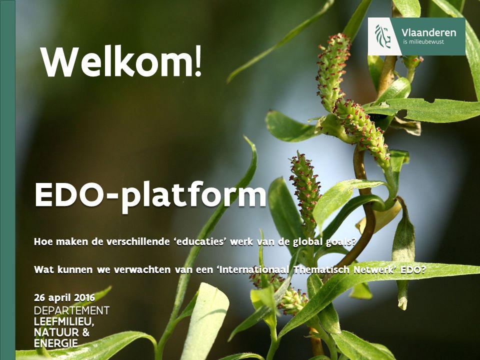 EDO-platform Hoe maken de verschillende 'educaties' werk van de global goals? Wat kunnen we verwachten van een 'Internationaal Thematisch Netwerk' EDO
