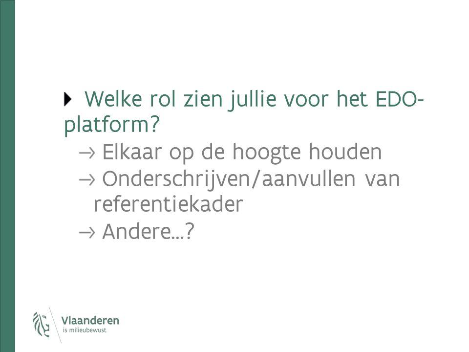 Welke rol zien jullie voor het EDO- platform? Elkaar op de hoogte houden Onderschrijven/aanvullen van referentiekader Andere…?