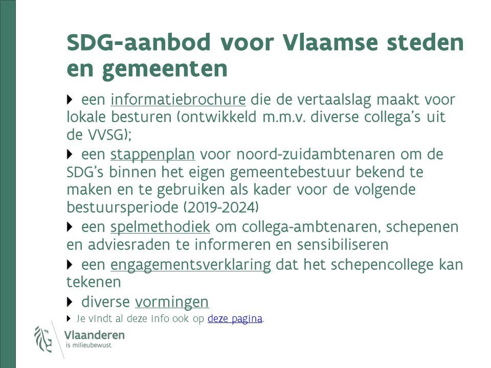 SDG-aanbod voor Vlaamse steden en gemeenten een informatiebrochure die de vertaalslag maakt voor lokale besturen (ontwikkeld m.m.v. diverse collega's
