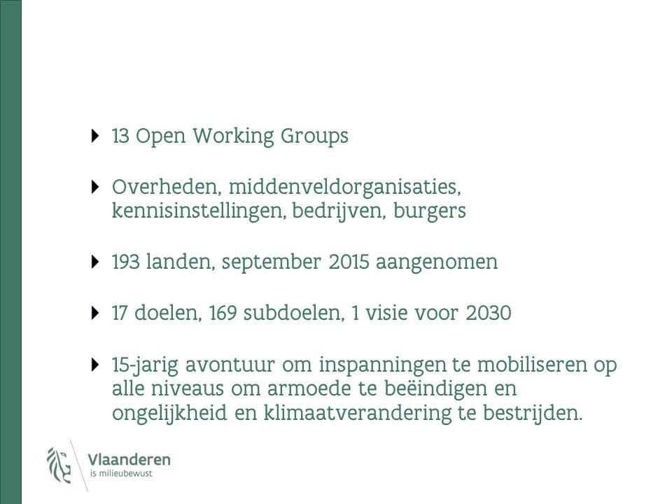 13 Open Working Groups Overheden, middenveldorganisaties, kennisinstellingen, bedrijven, burgers 193 landen, september 2015 aangenomen 17 doelen, 169