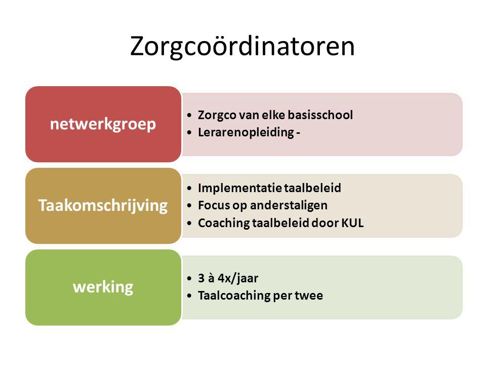 Zorgcoördinatoren Zorgco van elke basisschool Lerarenopleiding - netwerkgroep Implementatie taalbeleid Focus op anderstaligen Coaching taalbeleid door