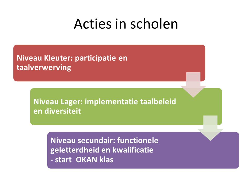 Acties in scholen Niveau Kleuter: participatie en taalverwerving Niveau Lager: implementatie taalbeleid en diversiteit Niveau secundair: functionele geletterdheid en kwalificatie - start OKAN klas