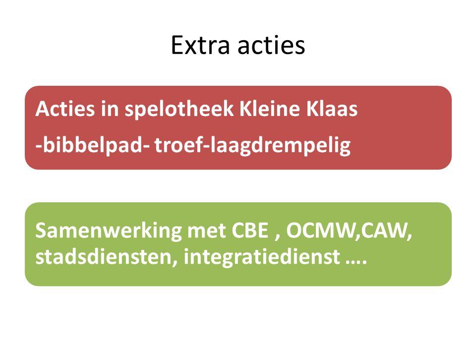 Extra acties Acties in spelotheek Kleine Klaas -bibbelpad- troef-laagdrempelig Samenwerking met CBE, OCMW,CAW, stadsdiensten, integratiedienst ….