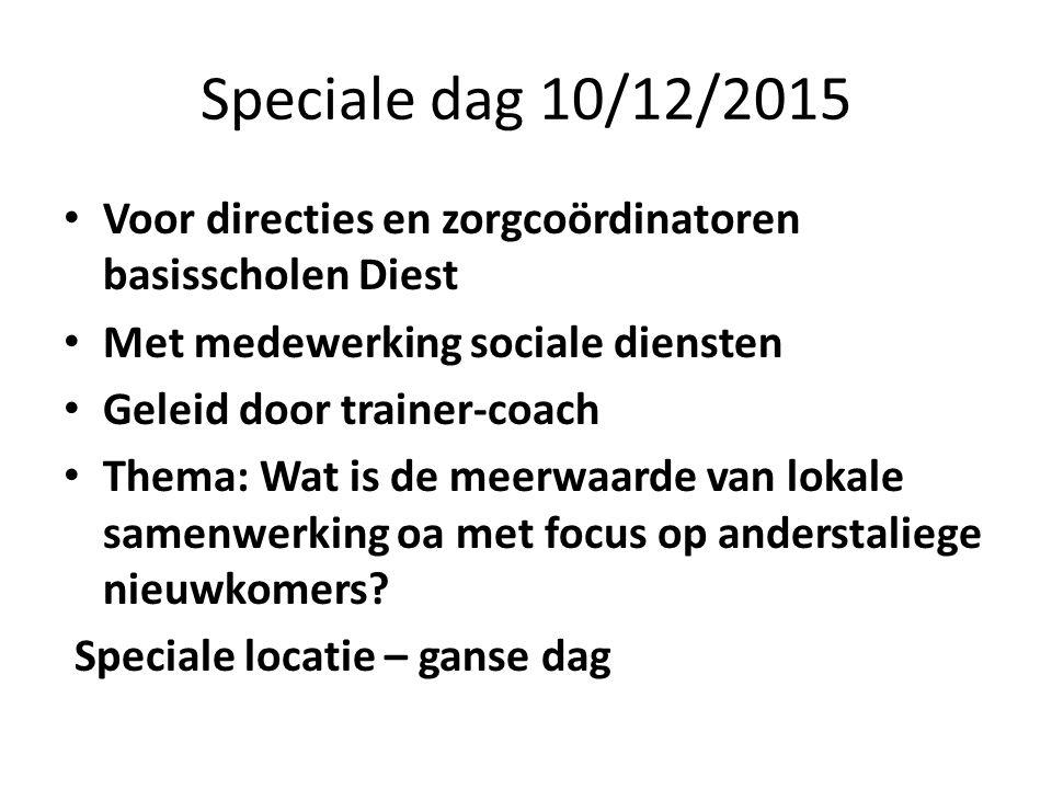 Speciale dag 10/12/2015 Voor directies en zorgcoördinatoren basisscholen Diest Met medewerking sociale diensten Geleid door trainer-coach Thema: Wat i