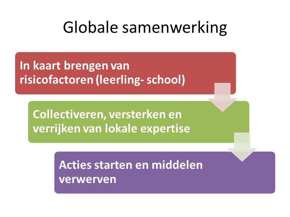 Globale samenwerking In kaart brengen van risicofactoren (leerling- school) Collectiveren, versterken en verrijken van lokale expertise Acties starten en middelen verwerven