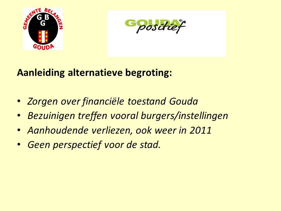 Aanleiding alternatieve begroting: Zorgen over financiële toestand Gouda Bezuinigen treffen vooral burgers/instellingen Aanhoudende verliezen, ook weer in 2011 Geen perspectief voor de stad.