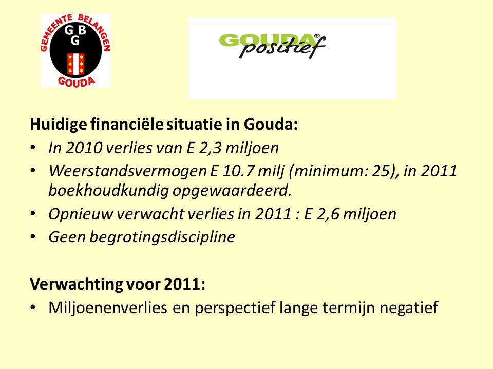 Huidige financiële situatie in Gouda: In 2010 verlies van E 2,3 miljoen Weerstandsvermogen E 10.7 milj (minimum: 25), in 2011 boekhoudkundig opgewaardeerd.