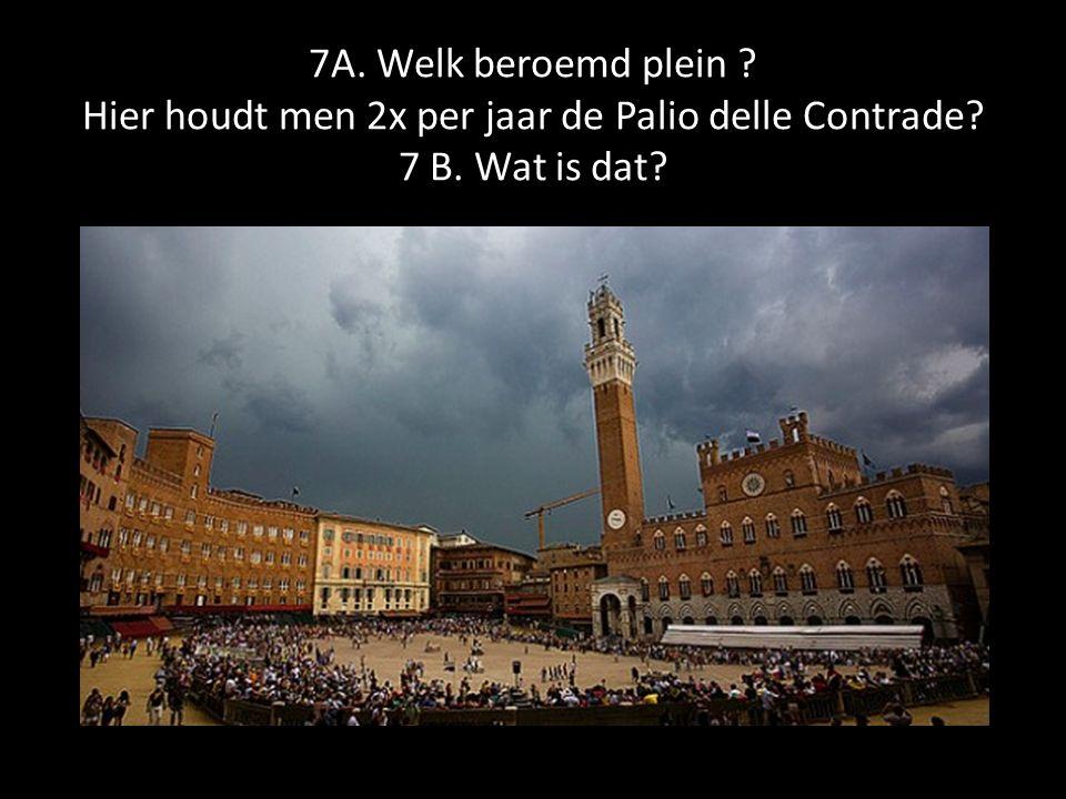 7A. Welk beroemd plein ? Hier houdt men 2x per jaar de Palio delle Contrade? 7 B. Wat is dat?