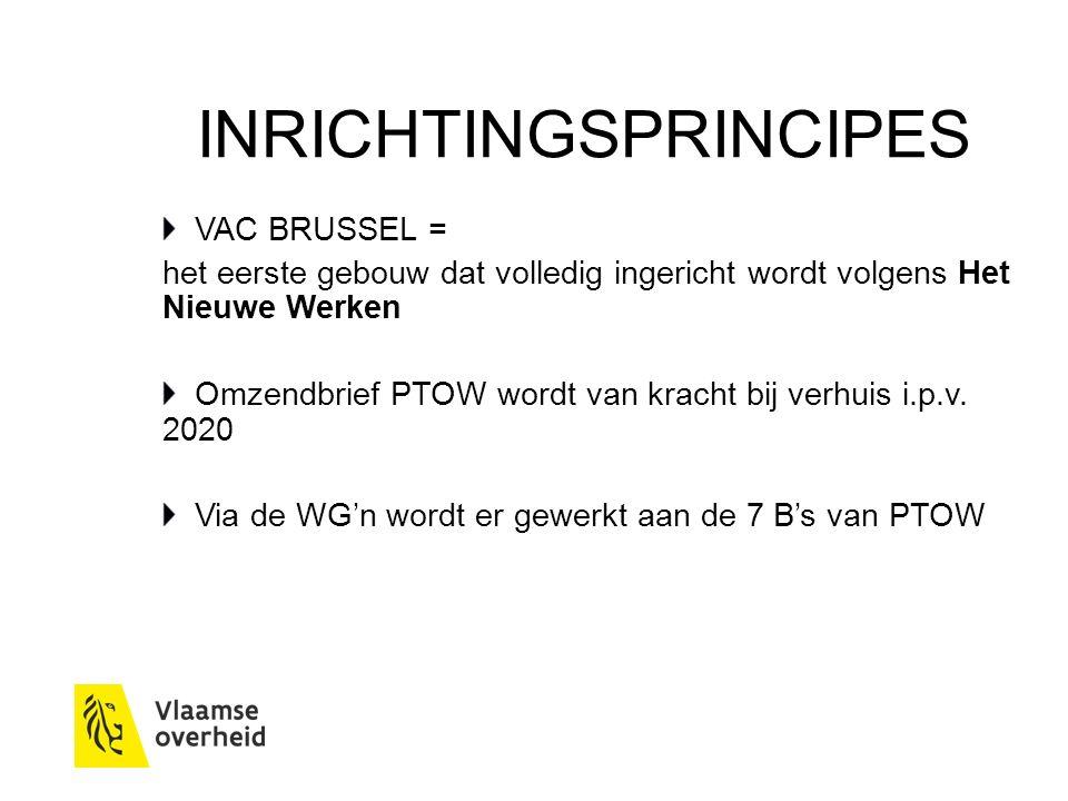 INRICHTINGSPRINCIPES VAC BRUSSEL = het eerste gebouw dat volledig ingericht wordt volgens Het Nieuwe Werken Omzendbrief PTOW wordt van kracht bij verhuis i.p.v.