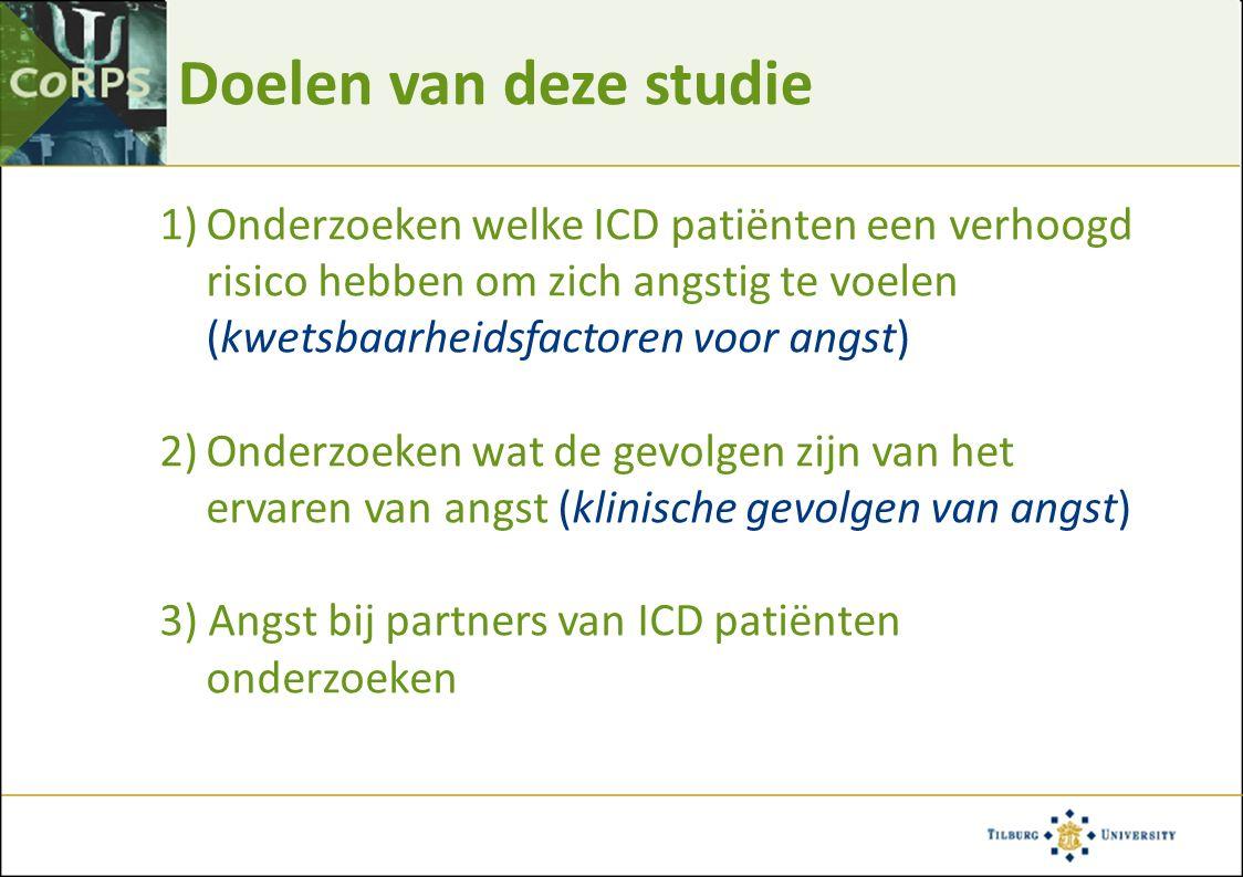 Doelen van deze studie 1)Onderzoeken welke ICD patiënten een verhoogd risico hebben om zich angstig te voelen (kwetsbaarheidsfactoren voor angst) 2)On