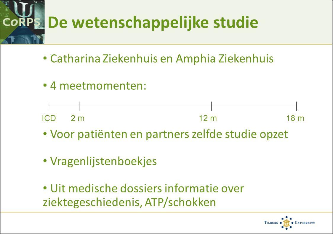 De wetenschappelijke studie Catharina Ziekenhuis en Amphia Ziekenhuis 4 meetmomenten: Voor patiënten en partners zelfde studie opzet Vragenlijstenboek