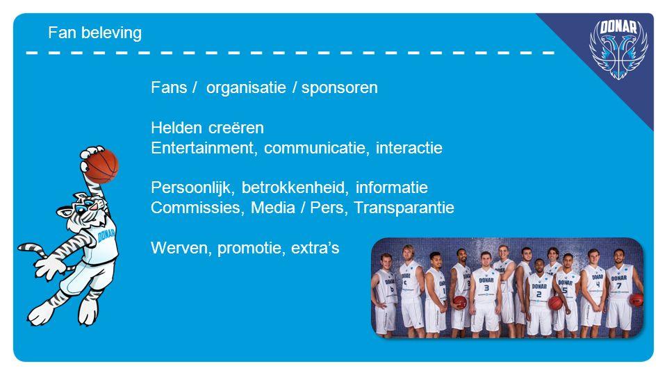 Fan beleving Fans / organisatie / sponsoren Helden creëren Entertainment, communicatie, interactie Persoonlijk, betrokkenheid, informatie Commissies,