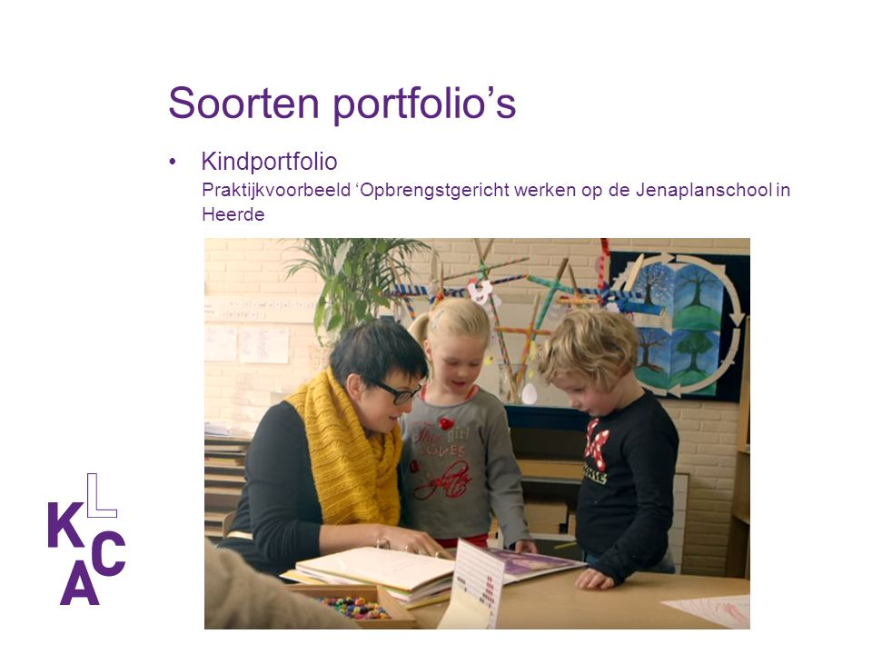 Soorten portfolio's Show/presentatie portfolio Ontwikkelingsgericht portfolio Evaluatie/beoordelingsportfolio Papieren of digitaal portfolio?