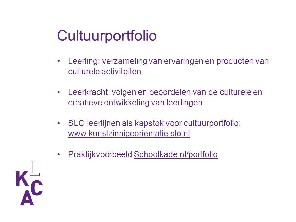 Cultuurportfolio Leerling: verzameling van ervaringen en producten van culturele activiteiten.