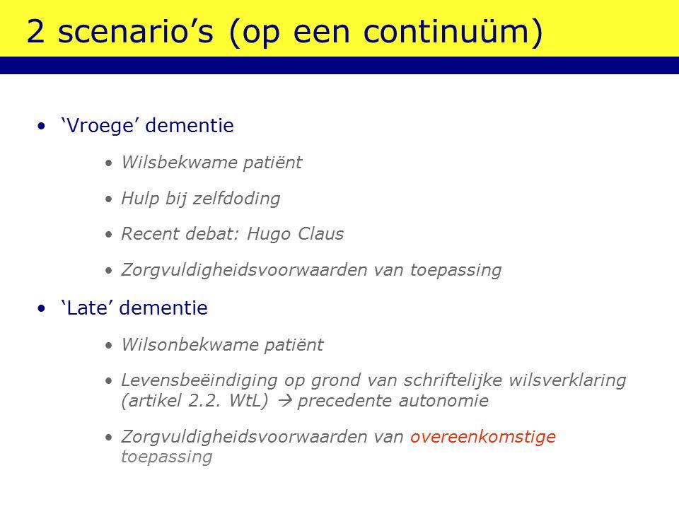 2 scenario's (op een continuüm??) 'Vroege' dementie  tussenfase????????? 'Late' dementie
