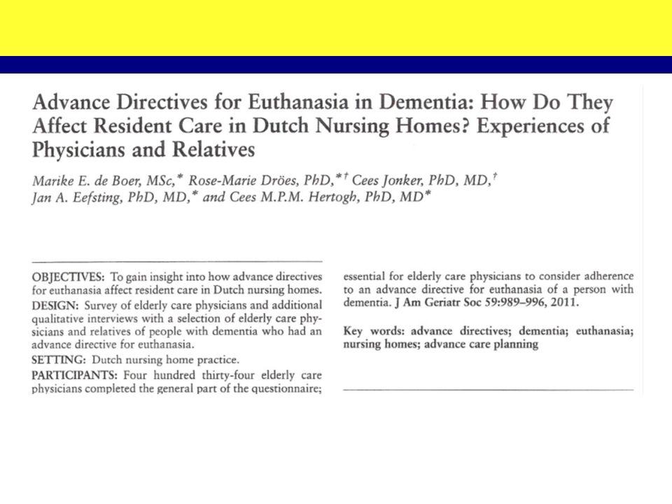 Survey onder specialisten ouderengeneeskunde: –434 geretourneerde vragenlijsten –110 casus beschrijvingen (meest recente casus van patiënt met dementie en euthanasie- verklaring) –5 gevallen van euthanasie (alle: wilsbekwame patiënten) (semi-gestructureerde) interviews: –11 artsen –8 nabestaanden