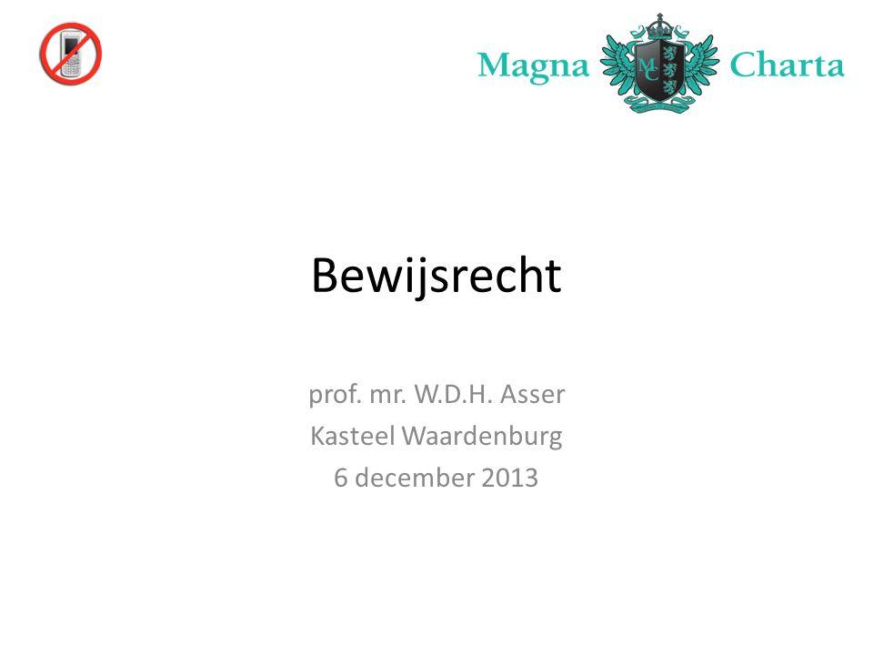 Bewijsrecht prof. mr. W.D.H. Asser Kasteel Waardenburg 6 december 2013