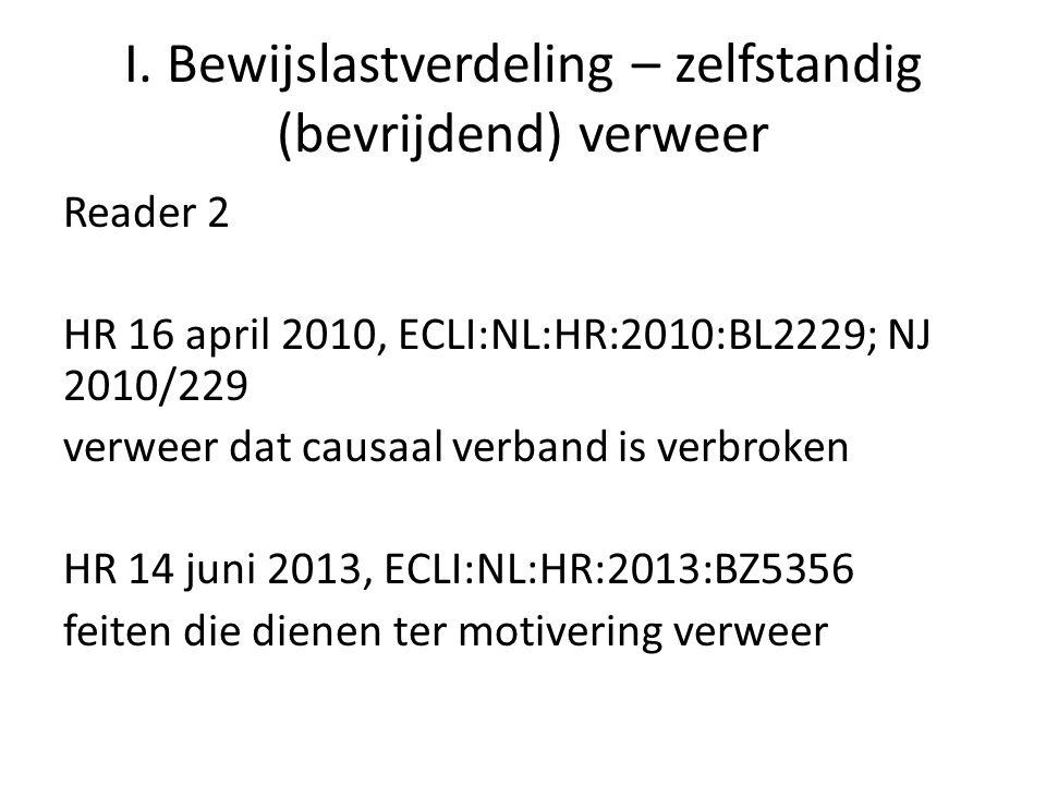 I. Bewijslastverdeling – zelfstandig (bevrijdend) verweer Reader 2 HR 16 april 2010, ECLI:NL:HR:2010:BL2229; NJ 2010/229 verweer dat causaal verband i