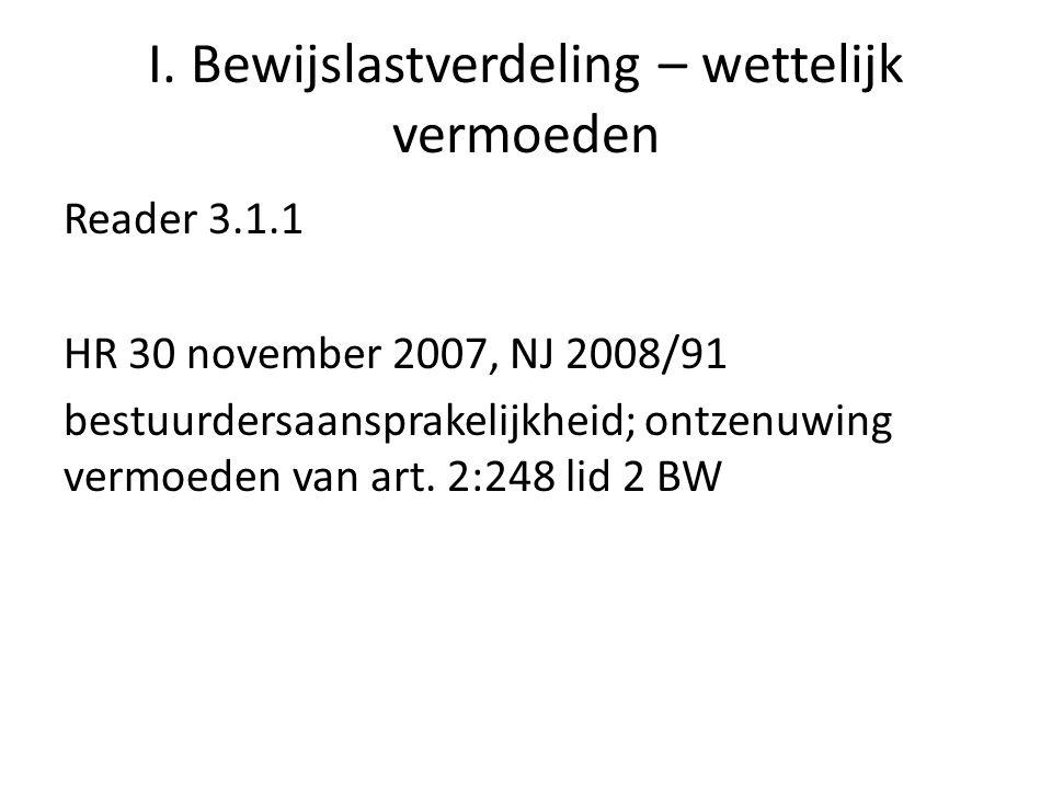 I. Bewijslastverdeling – wettelijk vermoeden Reader 3.1.1 HR 30 november 2007, NJ 2008/91 bestuurdersaansprakelijkheid; ontzenuwing vermoeden van art.
