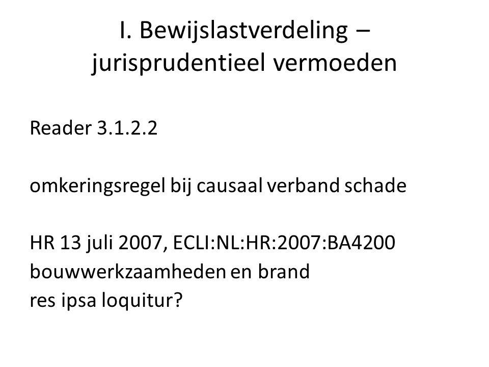 I. Bewijslastverdeling – jurisprudentieel vermoeden Reader 3.1.2.2 omkeringsregel bij causaal verband schade HR 13 juli 2007, ECLI:NL:HR:2007:BA4200 b