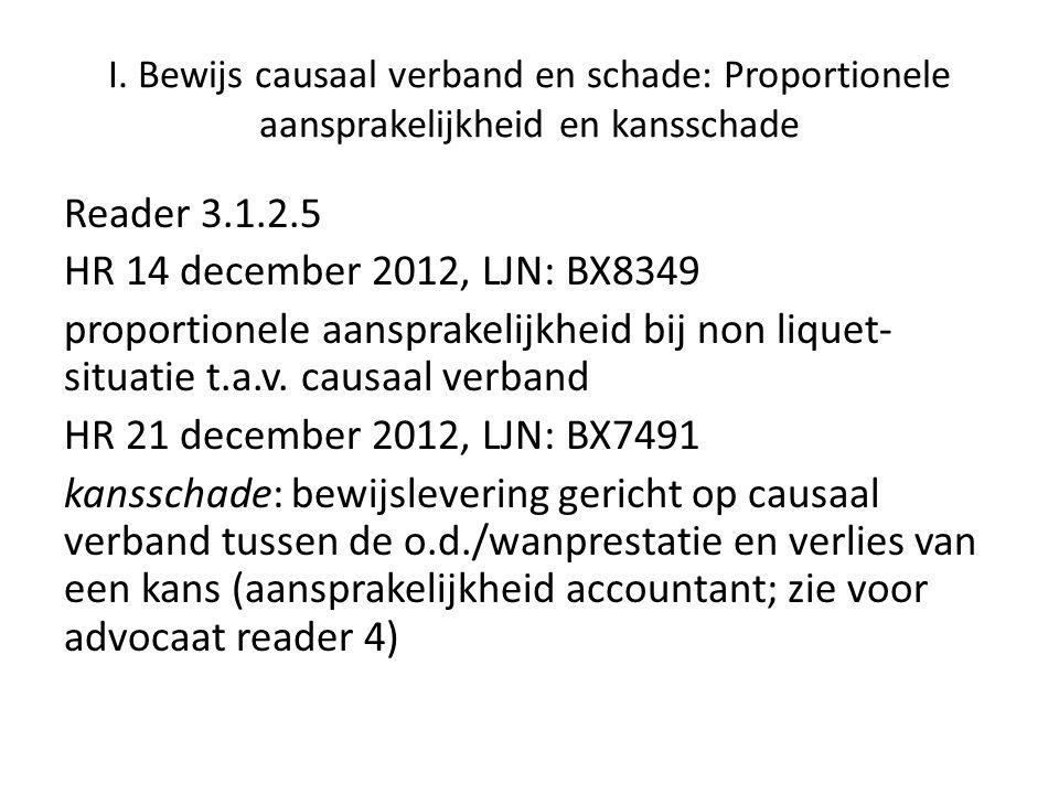 I. Bewijs causaal verband en schade: Proportionele aansprakelijkheid en kansschade Reader 3.1.2.5 HR 14 december 2012, LJN: BX8349 proportionele aansp