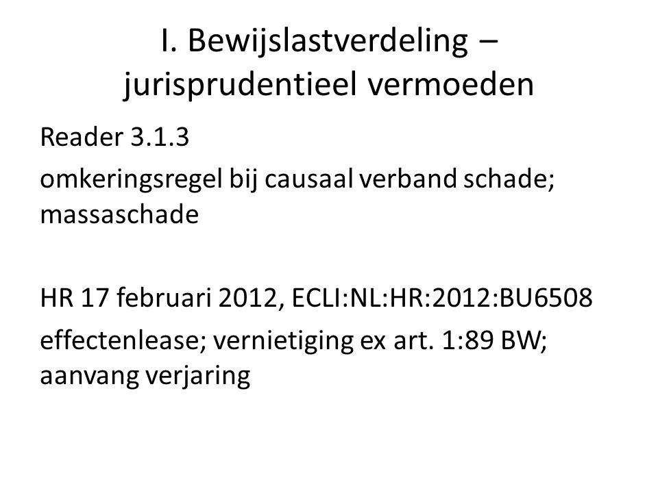 I. Bewijslastverdeling – jurisprudentieel vermoeden Reader 3.1.3 omkeringsregel bij causaal verband schade; massaschade HR 17 februari 2012, ECLI:NL:H