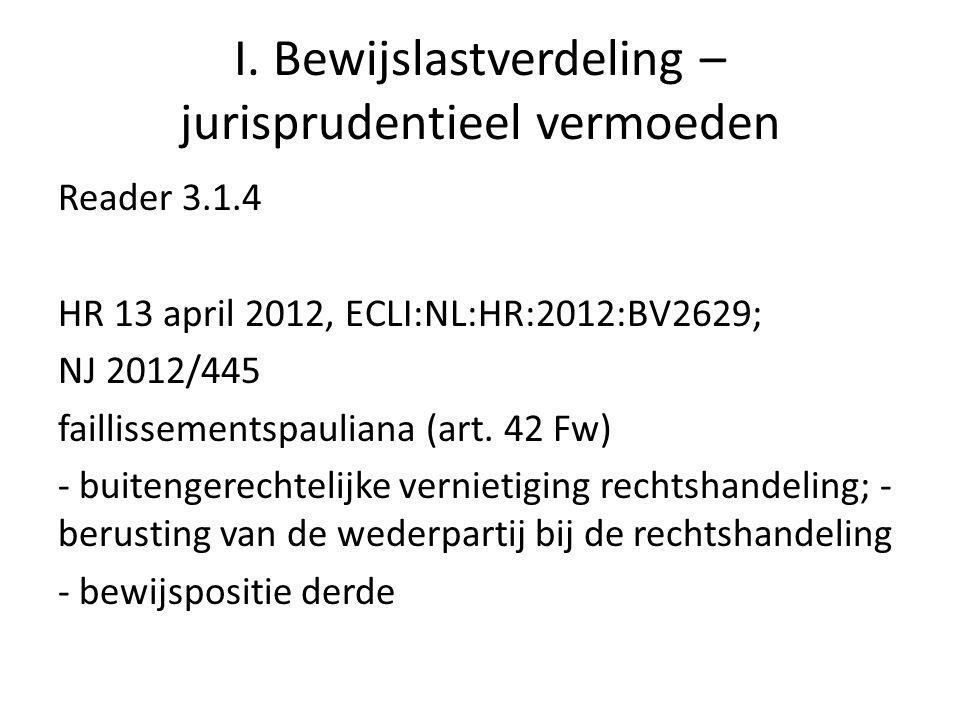 I. Bewijslastverdeling – jurisprudentieel vermoeden Reader 3.1.4 HR 13 april 2012, ECLI:NL:HR:2012:BV2629; NJ 2012/445 faillissementspauliana (art. 42
