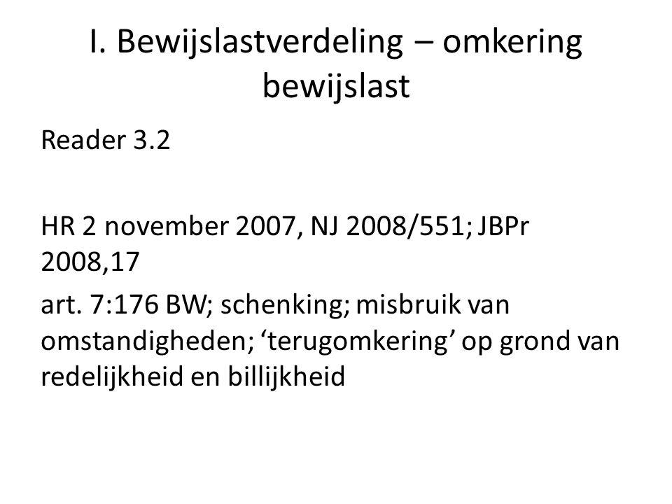 I. Bewijslastverdeling – omkering bewijslast Reader 3.2 HR 2 november 2007, NJ 2008/551; JBPr 2008,17 art. 7:176 BW; schenking; misbruik van omstandig