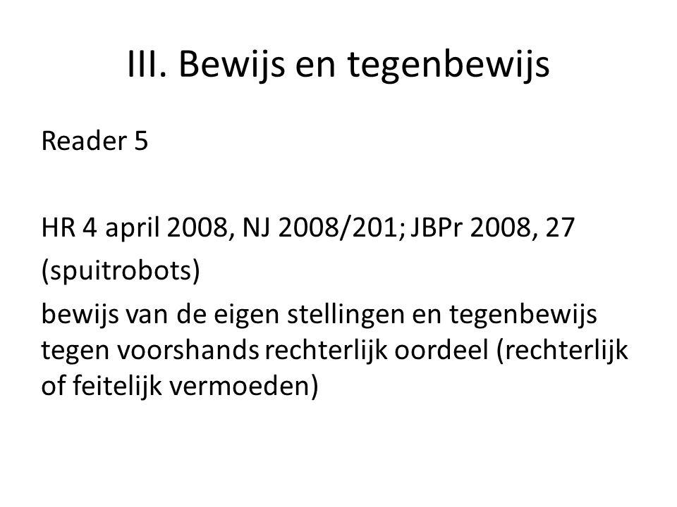 III. Bewijs en tegenbewijs Reader 5 HR 4 april 2008, NJ 2008/201; JBPr 2008, 27 (spuitrobots) bewijs van de eigen stellingen en tegenbewijs tegen voor