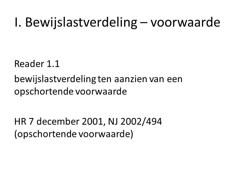 I. Bewijslastverdeling – voorwaarde Reader 1.1 bewijslastverdeling ten aanzien van een opschortende voorwaarde HR 7 december 2001, NJ 2002/494 (opscho