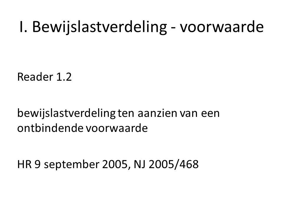 I. Bewijslastverdeling - voorwaarde Reader 1.2 bewijslastverdeling ten aanzien van een ontbindende voorwaarde HR 9 september 2005, NJ 2005/468