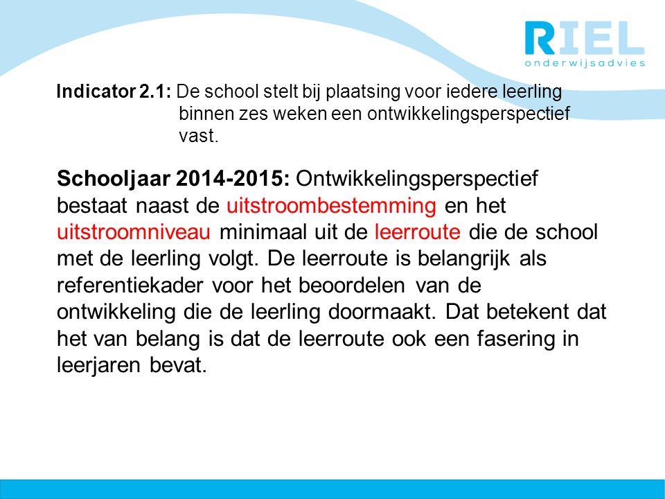 Indicator 2.1: De school stelt bij plaatsing voor iedere leerling binnen zes weken een ontwikkelingsperspectief vast.