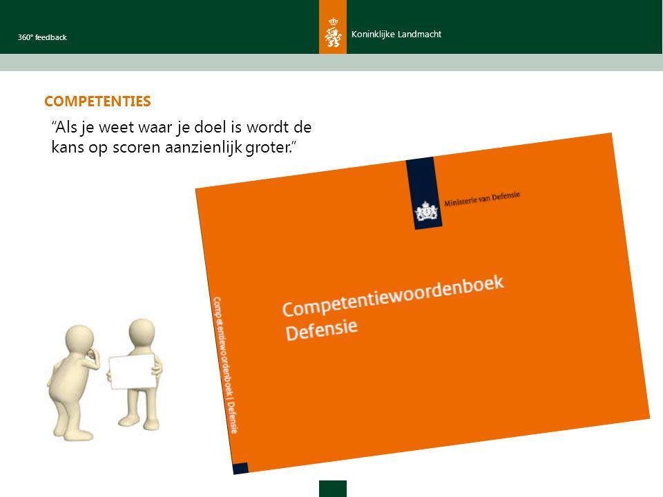 Koninklijke Landmacht 360° feedback COMPETENTIES Als je weet waar je doel is wordt de kans op scoren aanzienlijk groter.