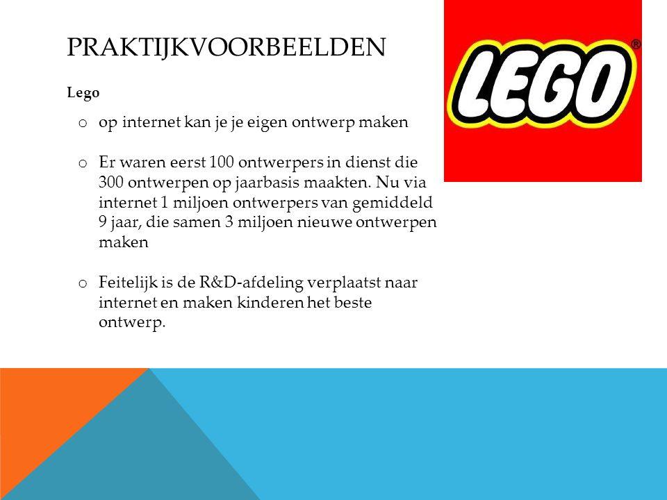 PRAKTIJKVOORBEELDEN Lego o op internet kan je je eigen ontwerp maken o Er waren eerst 100 ontwerpers in dienst die 300 ontwerpen op jaarbasis maakten.