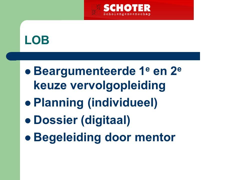 LOB Beargumenteerde 1 e en 2 e keuze vervolgopleiding Planning (individueel) Dossier (digitaal) Begeleiding door mentor