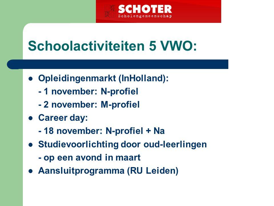 Schoolactiviteiten 5 VWO: Opleidingenmarkt (InHolland): - 1 november: N-profiel - 2 november: M-profiel Career day: - 18 november: N-profiel + Na Studievoorlichting door oud-leerlingen - op een avond in maart Aansluitprogramma (RU Leiden)