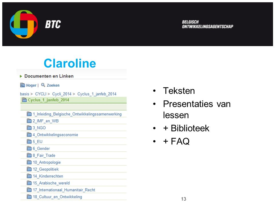 Claroline Teksten Presentaties van lessen + Biblioteek + FAQ Voorbeeld titel13