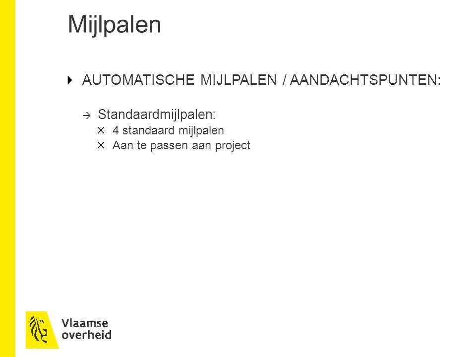 Mijlpalen AUTOMATISCHE MIJLPALEN / AANDACHTSPUNTEN:  Standaardmijlpalen: 4 standaard mijlpalen Aan te passen aan project