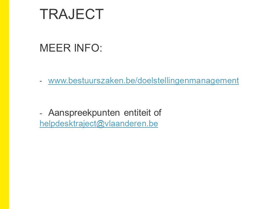 TRAJECT MEER INFO: - www.bestuurszaken.be/doelstellingenmanagement www.bestuurszaken.be/doelstellingenmanagement - Aanspreekpunten entiteit of helpdesktraject@vlaanderen.be