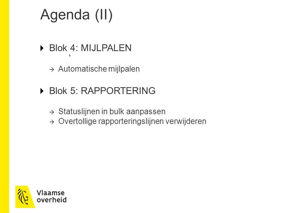 Agenda (II) Blok 4: MIJLPALEN '  Automatische mijlpalen Blok 5: RAPPORTERING  Statuslijnen in bulk aanpassen  Overtollige rapporteringslijnen verwijderen