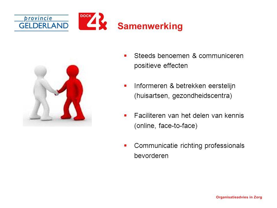 Samenwerking  Steeds benoemen & communiceren positieve effecten  Informeren & betrekken eerstelijn (huisartsen, gezondheidscentra)  Faciliteren van het delen van kennis (online, face-to-face)  Communicatie richting professionals bevorderen