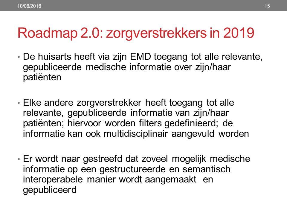 Roadmap 2.0: zorgverstrekkers in 2019 De huisarts heeft via zijn EMD toegang tot alle relevante, gepubliceerde medische informatie over zijn/haar patiënten Elke andere zorgverstrekker heeft toegang tot alle relevante, gepubliceerde informatie van zijn/haar patiënten; hiervoor worden filters gedefinieerd; de informatie kan ook multidisciplinair aangevuld worden Er wordt naar gestreefd dat zoveel mogelijk medische informatie op een gestructureerde en semantisch interoperabele manier wordt aangemaakt en gepubliceerd 18/06/201615