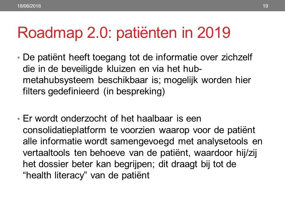 Roadmap 2.0: patiënten in 2019 De patiënt heeft toegang tot de informatie over zichzelf die in de beveiligde kluizen en via het hub- metahubsysteem be