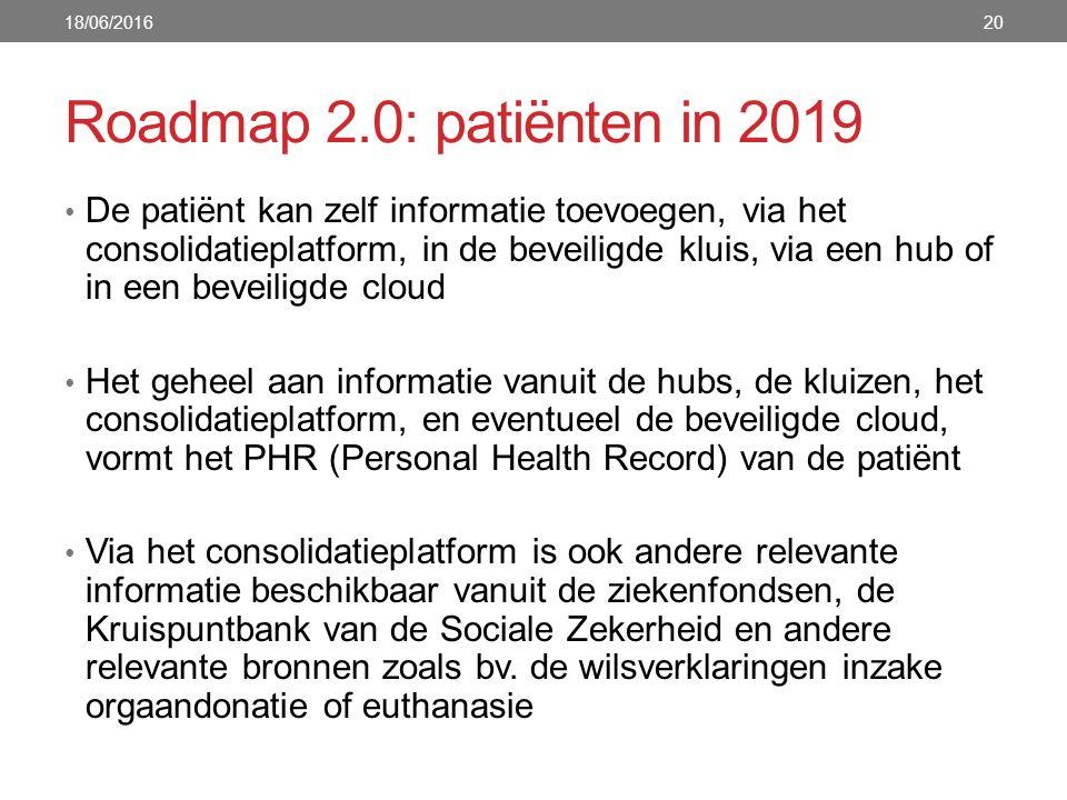 Roadmap 2.0: patiënten in 2019 De patiënt kan zelf informatie toevoegen, via het consolidatieplatform, in de beveiligde kluis, via een hub of in een b